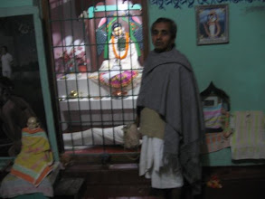 Photo: The shrine of Prabhusundar with Sri Mrinalbandhu Brahmachari - the resident prime sevait and incharge of the temple