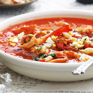 Sopa de arroz y pescado (Rice and seafood soup).