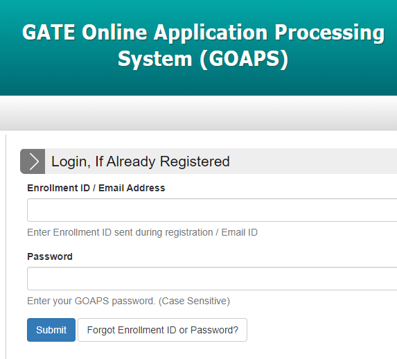 GATE Online Application Processing System (GOAPS)