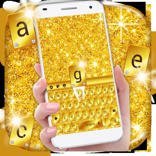 Gold Glitter Keyboard Theme