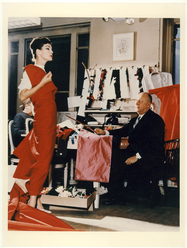 Christian Dior and model Lucky, 1955 for the V&A Exhibit