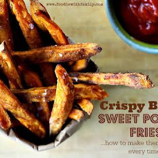 Guaranteed Crispy BAKED Sweet Potato Fries.