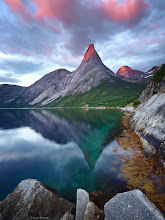 """Photo: Stetind is a remarkable peak in Norway (Norway's """"national mountain"""" in fact) rising abruptly 1392m (4564 ft.) above an arm of the Tysfjord southwest of the town of Narvik, in northern Norway.<br /> <br /> I was lucky to catch this nice sunset; I was camped out here for 3 days, and except for this brief sunset it rained pretty much the whole time.<br type=""""_moz"""" /> <br />"""