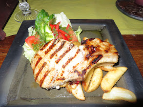 Photo: Pork steak with potatoes and vegetables