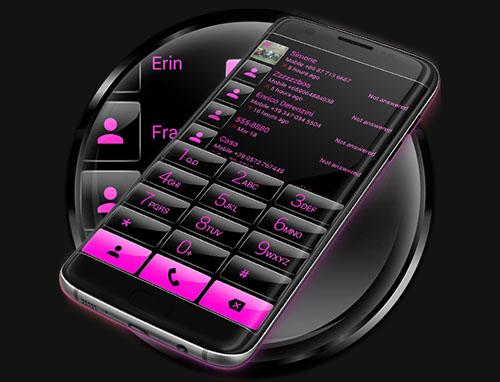 Dialer Gloss Black Pink Theme for PC