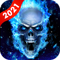 Blue Fire Skull Live Wallpapers Themes icon