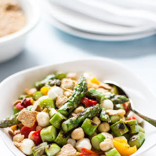 Char-grilled Chopped Asparagus Salad With Smashed Pita Chips