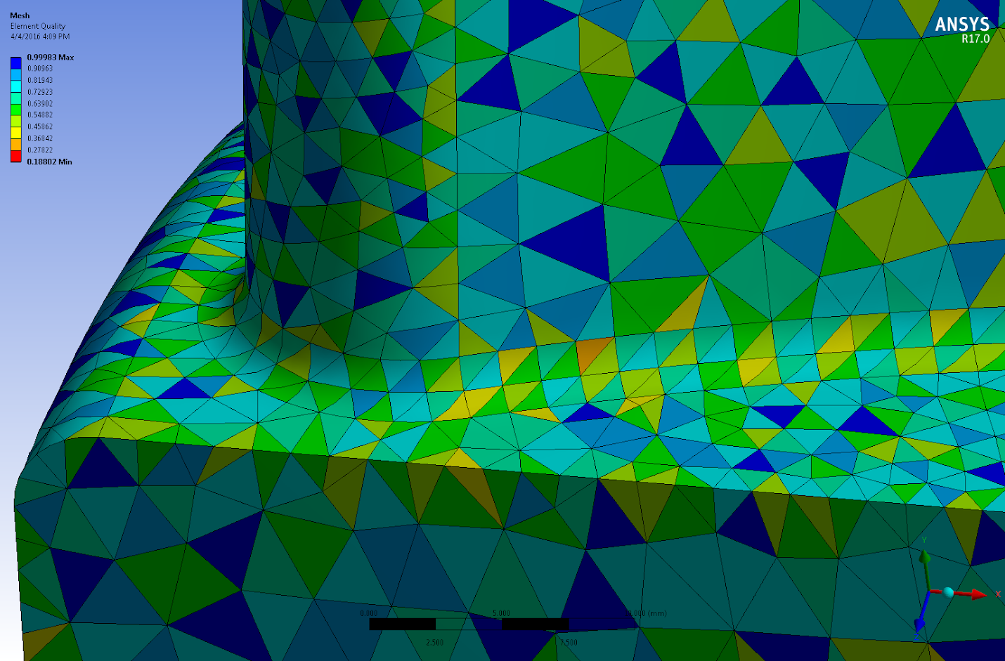 сетка, полученная с помощью опции Nonlinear Mechanical Shape Checking