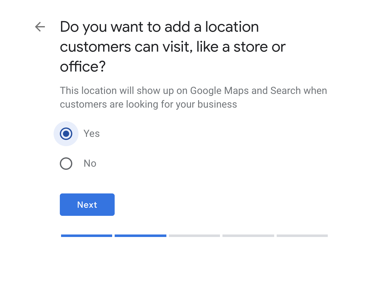 Google My Business option to add a location where customers can visit that will be added to Google Map
