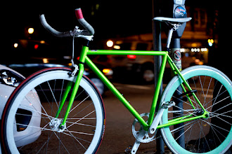 Photo: Hipster bike lit by florescent store front. Shooting on Main Street, Vancouver BC at night with the Zuiko 50mm f1.8 and EOS 5Dmkii.