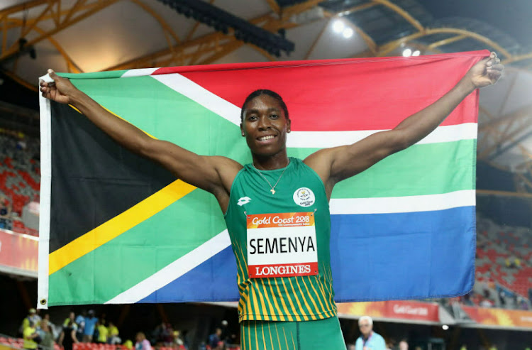 Caster Semenya celebrates winning gold in the Women's 1500 metres final at the Commonwealth Games