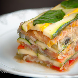 Summer vegetable terrine with sauce vierge (by Ladurée).