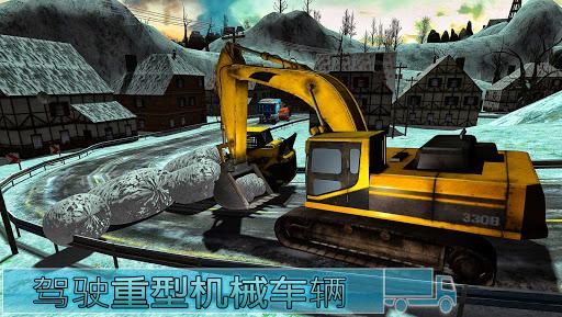 大雪挖掘机起重机运