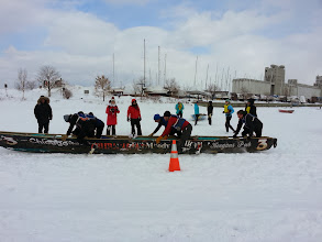 Photo: The away teams - Calgary, France, and Chicago who drove their boat 21 HOURS to compete in the Ice Canoe Races