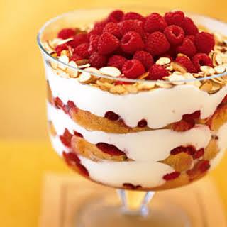 Raspberry, White Chocolate, and Almond Trifle.