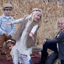 Tractor Play by Kevin Frick - Babies & Children Children Candids ( fall, play, children, kids )
