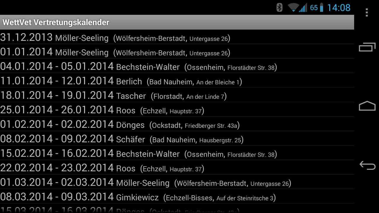Veterinary backup calendar- screenshot