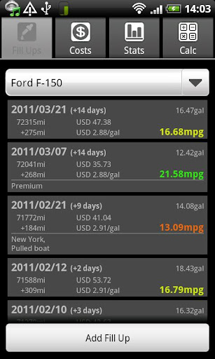 FuelLog screenshot 1