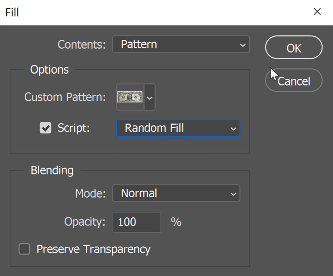 Check the box for Script and on the drop-down menu beside it, select Random Fill