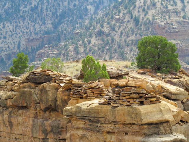 Rock walls surrounding the edge