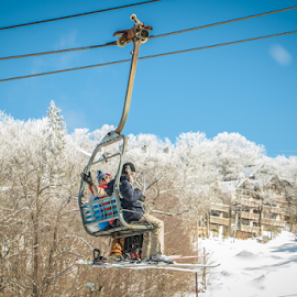 Hanging High by Myra Brizendine Wilson - Sports & Fitness Snow Sports ( snow in north caroina mountains, mountains, north carolina, skiing, beech mountain, snow on beech mountain,  )