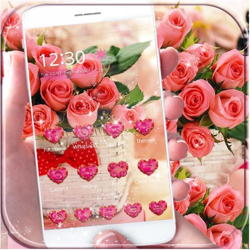 粉玫瑰情人节玫瑰爱3D桌面主题壁纸 遊戲 App LOGO-硬是要APP