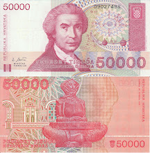 Photo: Ruggero Boscovich, 50000 Croatian October Dinar (1993). This note is now obsolete.