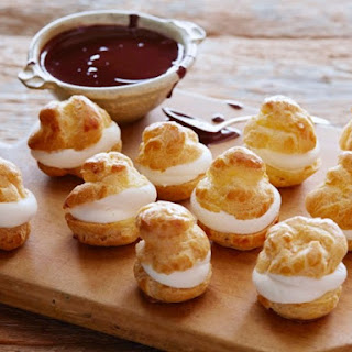 Cream-filled Profiteroles with Chocolate Sauce