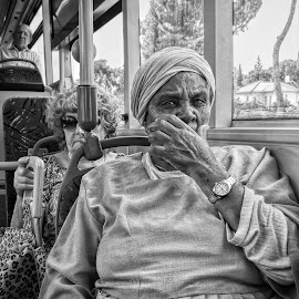 bus ride by Moshe Friedline - Black & White Street & Candid ( candid, portrait, street photography )