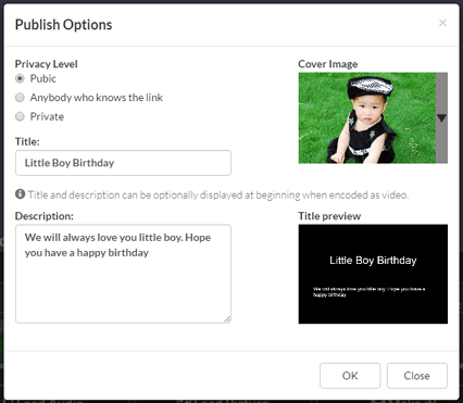 Dialog box to publish a photo slideshow work