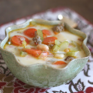 Creamy White Bean, Italian Sausage and Vegetable Soup.