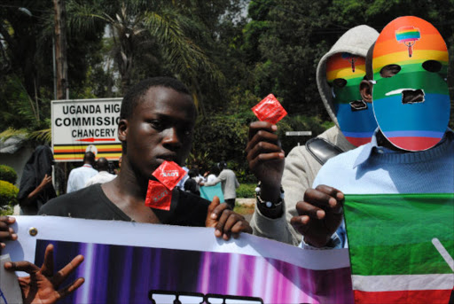 Gay activists in Nairobi Kenya protesting against arrests on February 10, 2014.