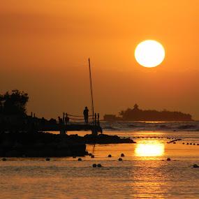 Touching the Sun by Jason Asselin - Landscapes Travel ( water, jamaica, sunset, sea, tropics )