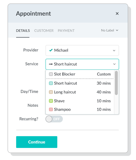 The Appointment menu includes dropdown menus for Provider, Service, Day/Time, and space for any additional notes you may have.