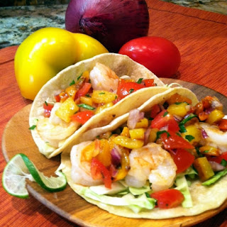 Fresh Tomato and Yellow Pepper Salsa with Shrimp (or Chicken) Tacos