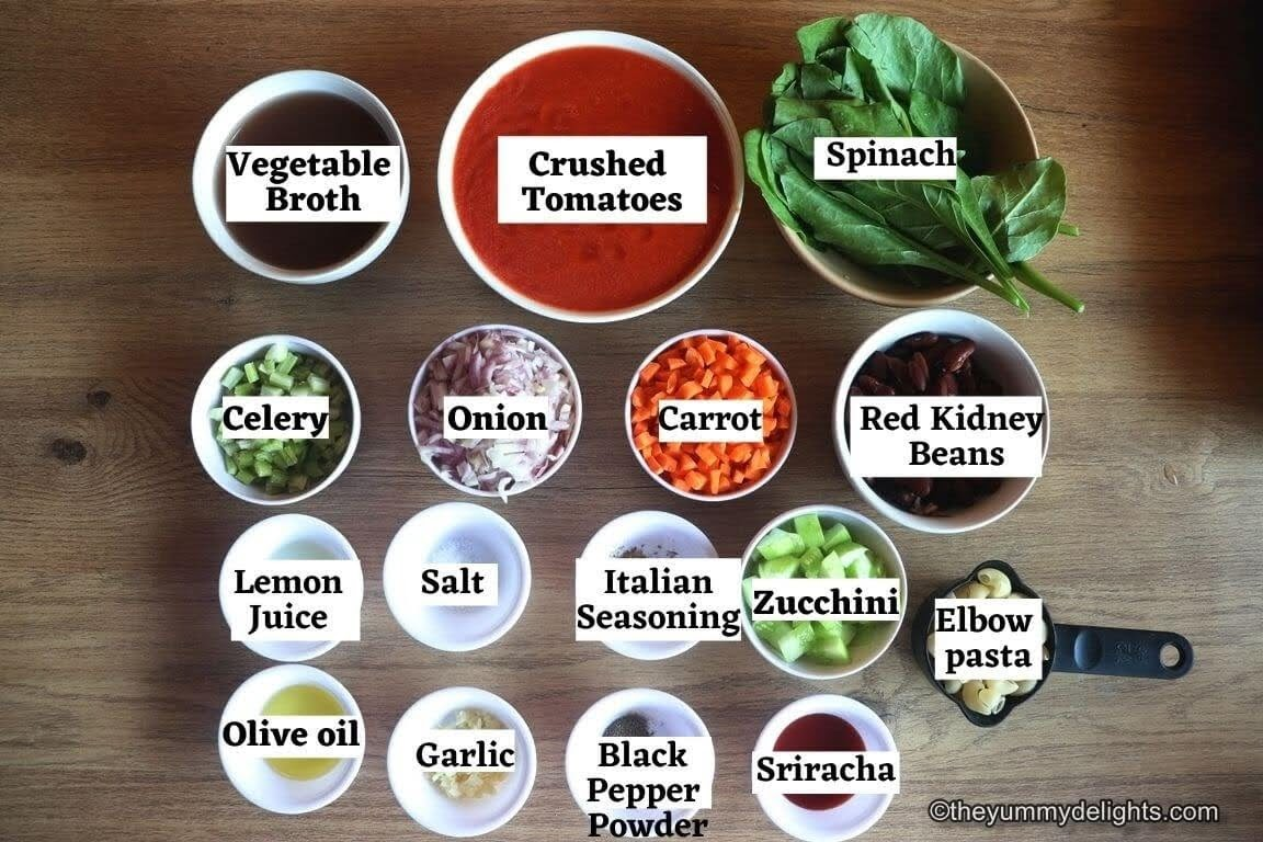 image of minestrone soup ingredients