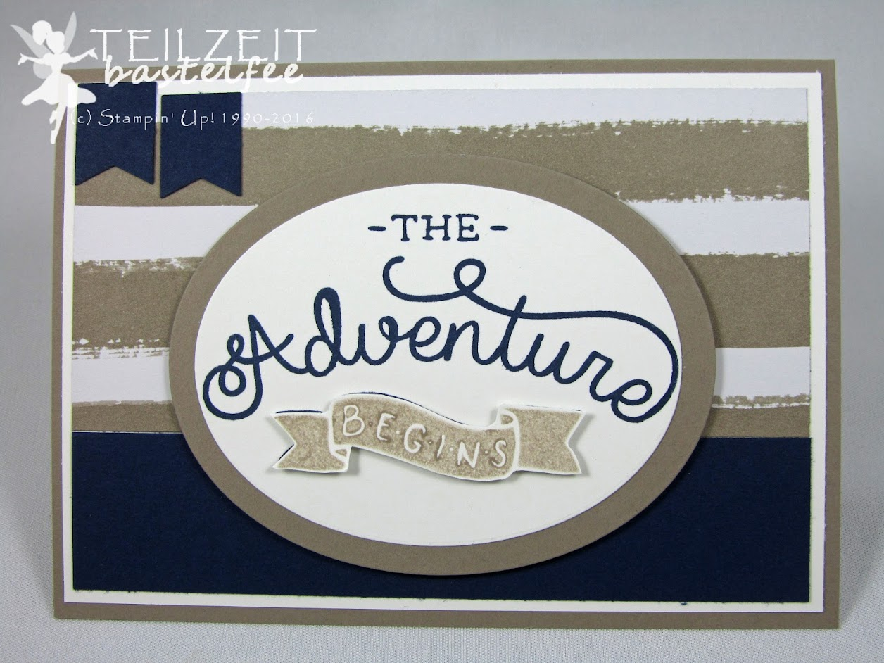 Stampin' Up! – In{k}spire_me #267, Adventure Awaits, male card, Männerkarte, Framelits Oval Collection, Banner, Pennants, DSP Go Wild, Designerpapier im Block Einfach tierisch