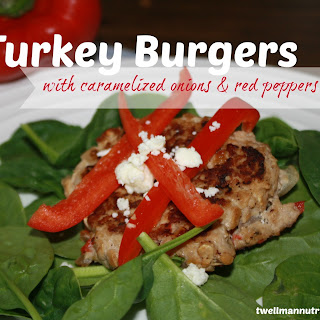 Turkey Burgers with Caramelized Onions and Red Peppers.