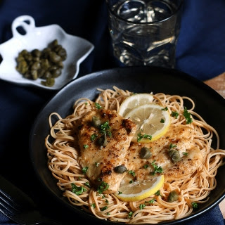 Chicken Piccata on Yellow Soybean Pasta.