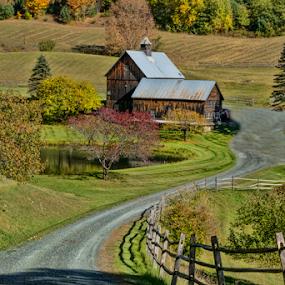Sleepy Hollow Farm by Gwen Paton - Landscapes Mountains & Hills ( barn, vermont, farm, autumn,  )