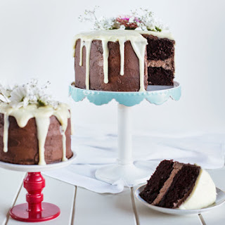 Triple Chocolate Cake with Milk Chocolate Buttercream, Dark Chocolate Frosting and White Chocolate Ganache
