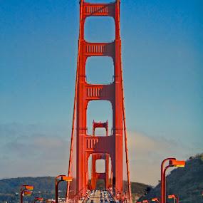 Traffic on Golden Gate Bridge by Kim Wilson - Buildings & Architecture Bridges & Suspended Structures ( water, crossing, vertical, golden gate bridge, photograph, exterior, colorful, california, vivid, image, suspension, road, vibrant, pwcbridges, sausalito, red, traffic, bay, cars, outdoors, bridge, outside )