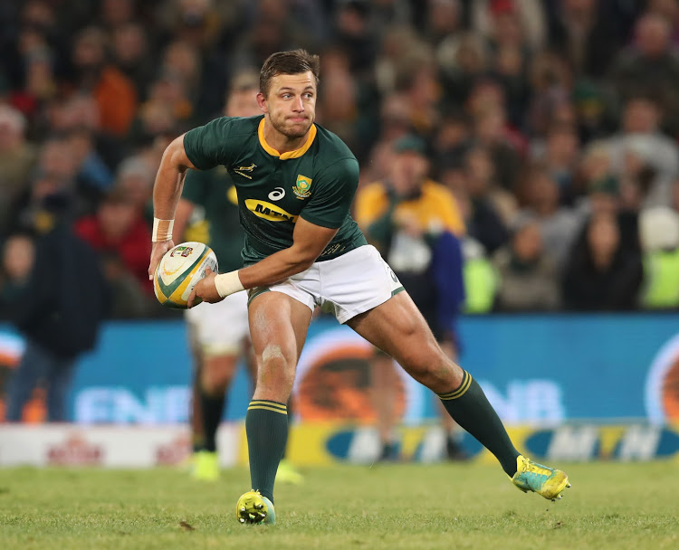 Handre Pollard of the Springboks during the international rugby match between South Africa and England at the Free State Stadium, Bloemfontein on 16 June 2018