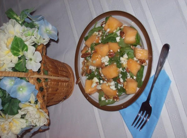 Melon, Mache & Pecan Salad With Peach Vinaigrette Recipe