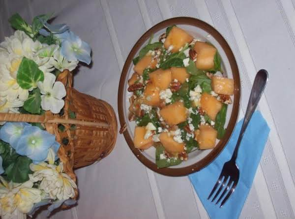 Melon, Mache & Pecan Salad With Peach Vinaigrette Recipe