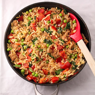 Orzo with Sausage and Tomatoes