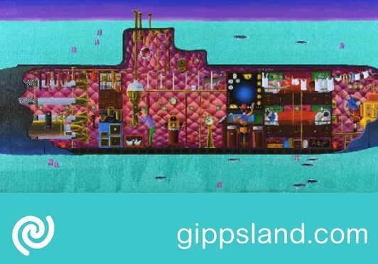 Rodney Forbes, Submarine with Goat and Giantess, 2010, oil,  acrylic and alkyd on canvass, 92x259cm, Latrobe Regional Gallery Collection, acquired 2012