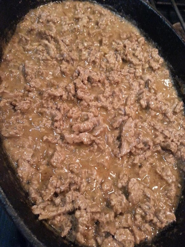 Put meat into same skillet and cook...