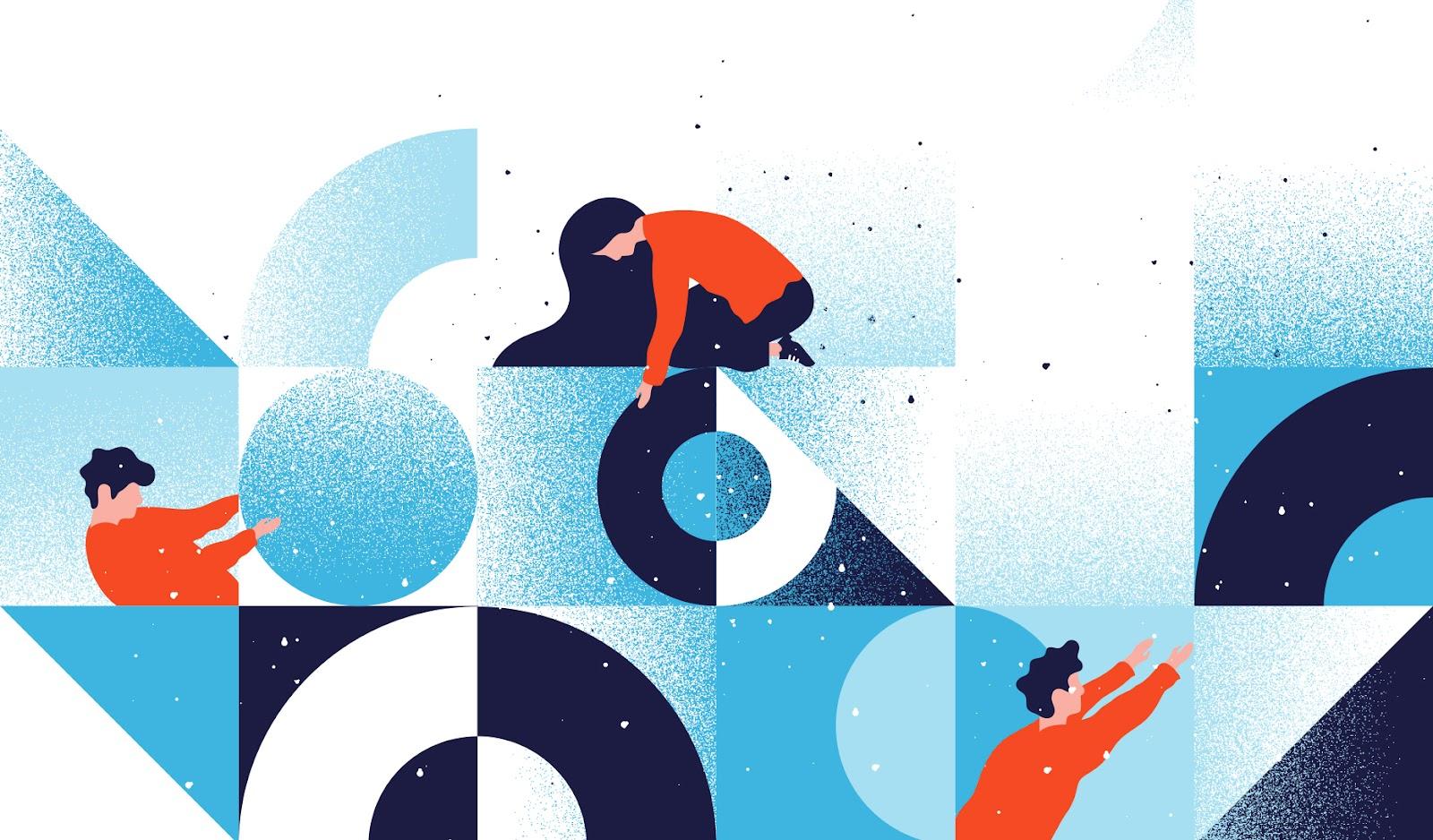 Une illustration moderne et abstraite inspirée du design Memphis