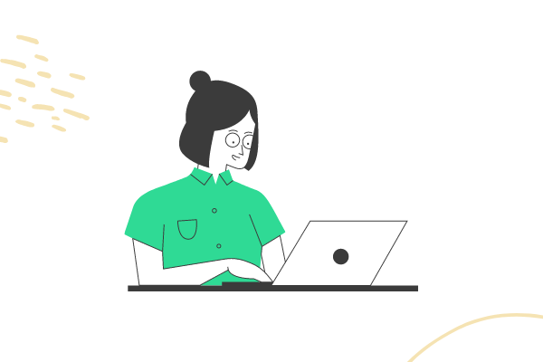 Drawing of woman on laptop